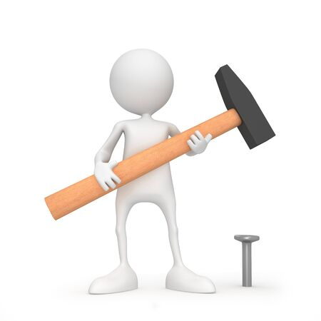 Unrecognizable small people with hammer. 3D high quality render. Image isolated on white background. Stock Photo
