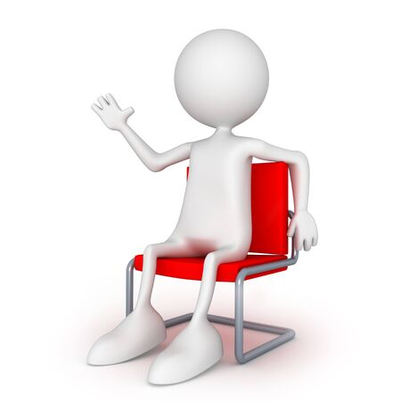 Sitting on easy chair. 3d image isolated on white background.