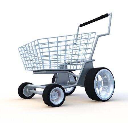 shoppings: Shopping cart. 3d illustration isolated on white background. Stock Photo
