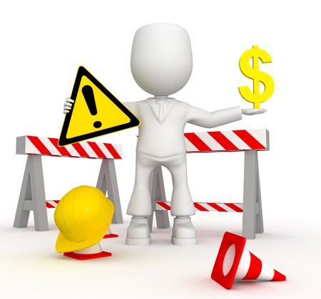 Repair of the money road). 3d image isolated on white background.