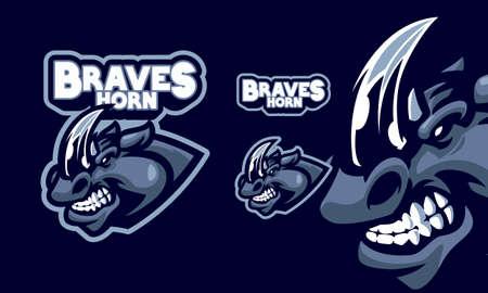 angry blue wolf head mascot logo