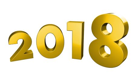 Three Dimensional Rendering of year 2018 in a curved form with clipping path included in the file for transparency, in gold