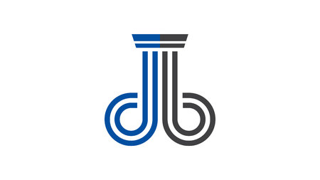 DB Logo formed like the courtroom pillars and in gray and blue colors. Ideal for legal or law firms.