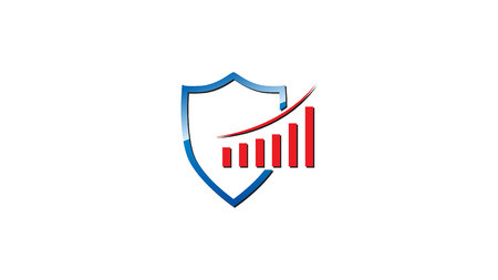 Shield & Graph Logo. Ideal for insurance, investment, safety companies