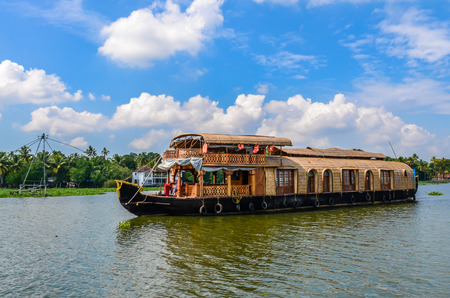 On the move through the backwaters with its passengers.