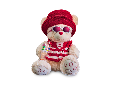 Red Teddy Bear in a mischievous mood - isolated on white background.