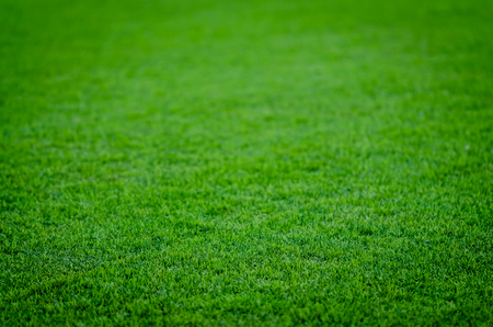 Abstract background of green grass on a Football Field. Ideal for placing objects with depth of field.