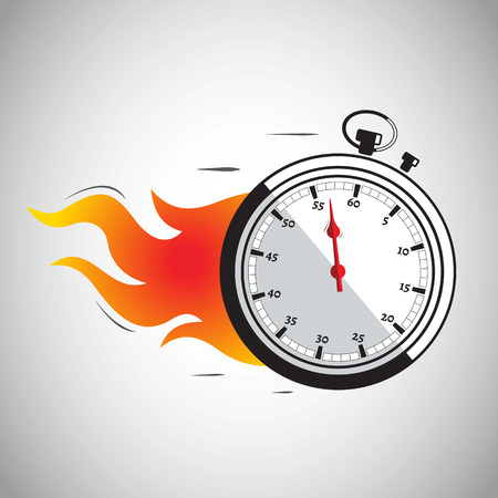 Vector Illustration of a speeding stopwatch on fire with the needle close to 60 seconds to show the importance of time.