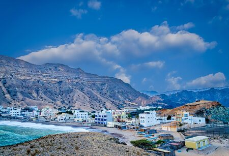 Small fishing town at the foot of the hills in Muscat, Oman.