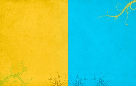 Yellow & Blue partitioned floral background with grunge texture Фото со стока