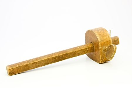 Isolated old woodworking marking gauge