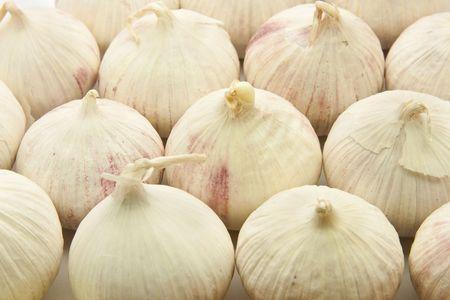 Close up of group of garlic bulbs Stock Photo