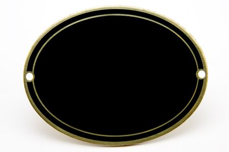 Black and gold blank oval medallion on isolated white background Stock Photo - 7532817
