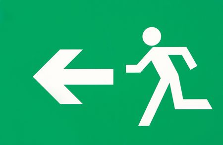 Symbol of white man and arrow on green sign background