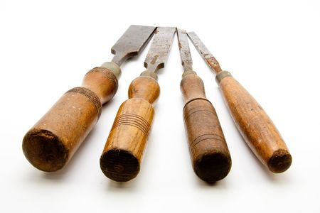 woodworking: Carpenters Tool Old Chisels Isolated
