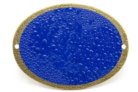 Blue and Brass Wet Look Plaque