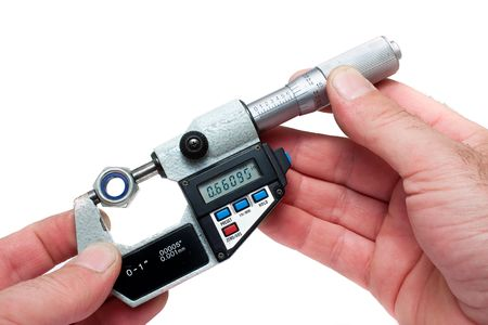 micrometer: Measuring Equipment Digital Micrometer Measuring Bolt Isolated Stock Photo