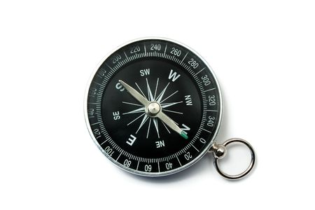 Compass Black with Green Symbols on Dial Isolated on White Backround Stock Photo