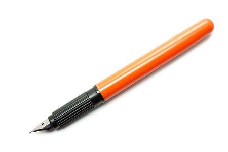 Fountain Pen Black and Orange Isolated on White Backround