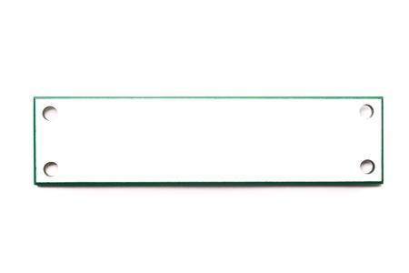 Rectangular White Label with Holes and Green Border Isolated on White Backround Stock Photo