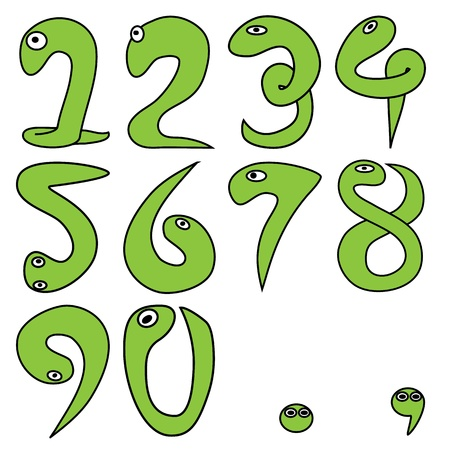 and comma: numeric cartoon 1-9 with period and comma