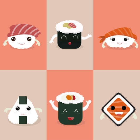 Set of kawaii sushi flat illustration. Sushi mascot.
