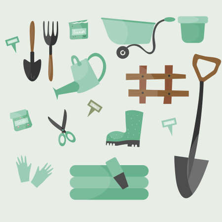Set of gardening tools or items. Flat vector illustration.