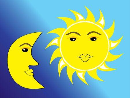 luna y el sol Ilustración de vector