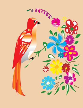 red bird and flowers Vector