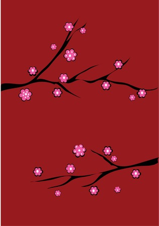 cherry brunches on red background Vector