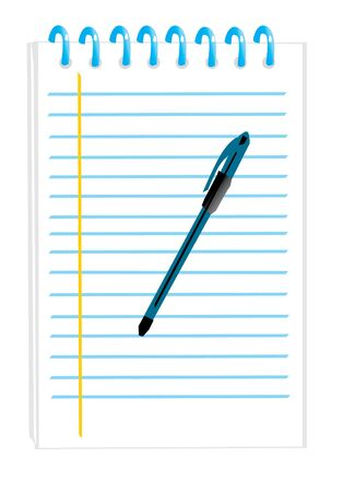 notepad with a pen