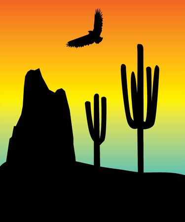 landscape with an eagle Vector