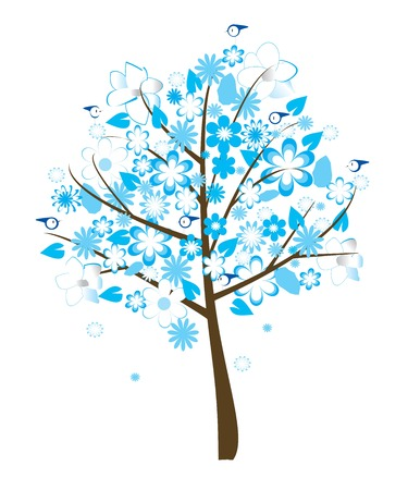 floral tree with blue flowers Stock Vector - 5291244
