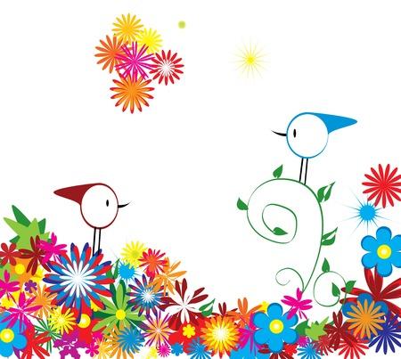 flower background with birds