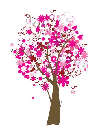floral tree with flowers and birds Stock Vector - 5291257