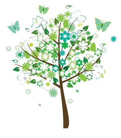 Floral arbre avec les oiseaux et les papillons Banque d'images - 5291256