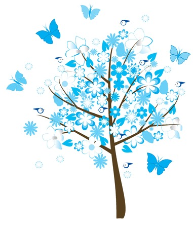 birds in tree: floral tree with birds and butterflies