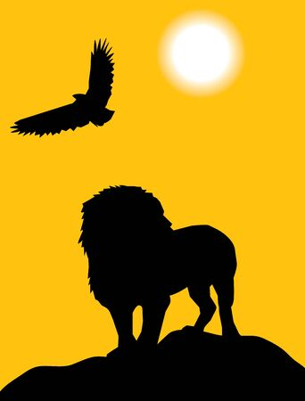 lion and eagle Vector
