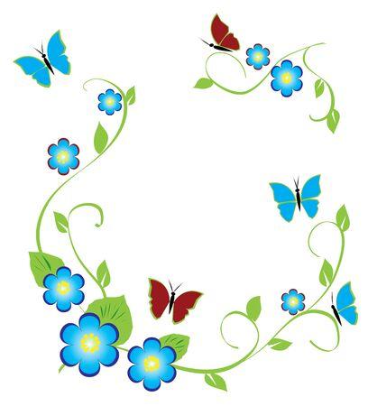 Fleur sur fond bleus et rouges de papillons Banque d'images - 5291252