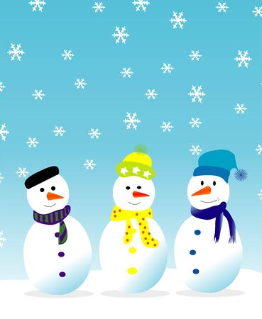 three snowmen Vector