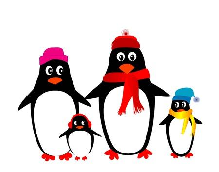 penguin family vector Vector