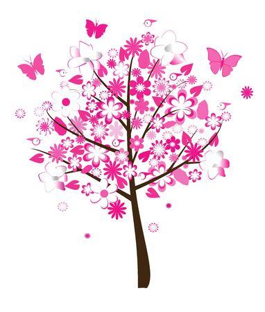 floral tree vector Vectores