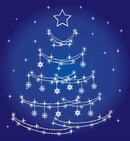 blue holiday tree Vector