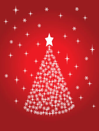red holiday tree Vector