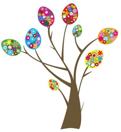 chick: easter tree Illustration
