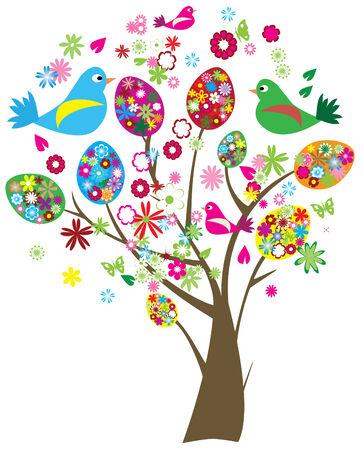 birds in tree: albero di Pasqua  Vettoriali