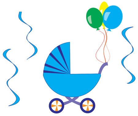 stuff toys: blue stroller Illustration