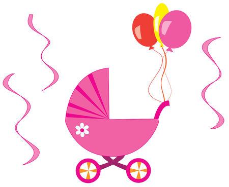 pink stroller Stock Vector - 7000164