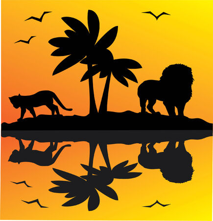 african landscape with reflection Vector