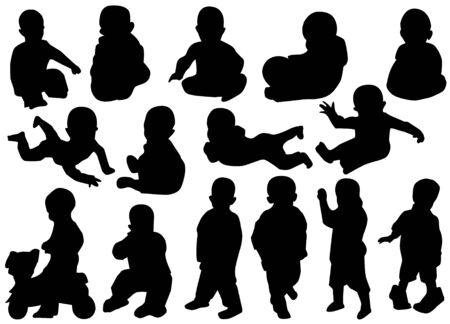 black baby boy: children silhouettes Illustration